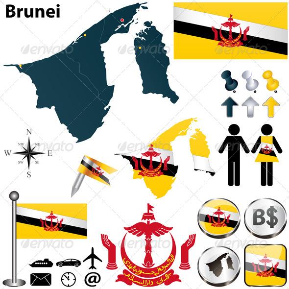 Map of Brunei - Travel Conceptual