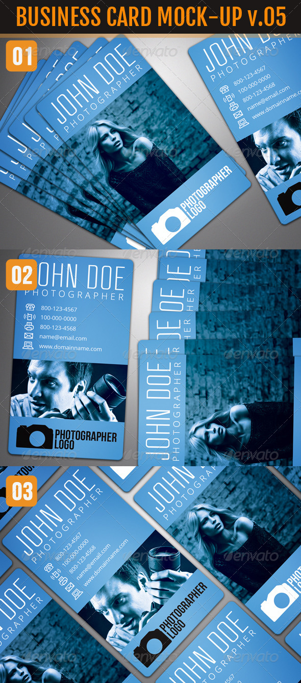 Photo Realistic Business Card Mock-Up Vol.5 - Business Cards Print