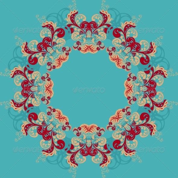 Round Ornamental Frame, Vector Illustration - Patterns Decorative