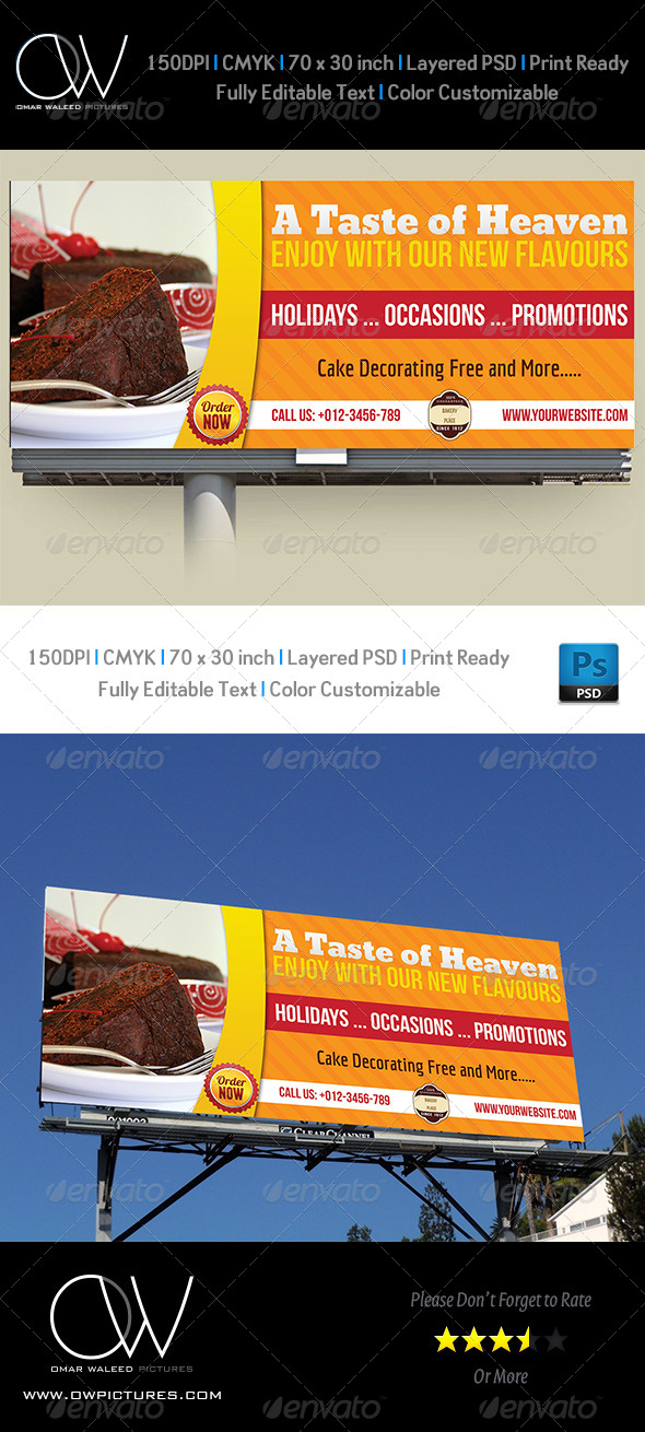 Cake Billboard Template - Signage Print Templates