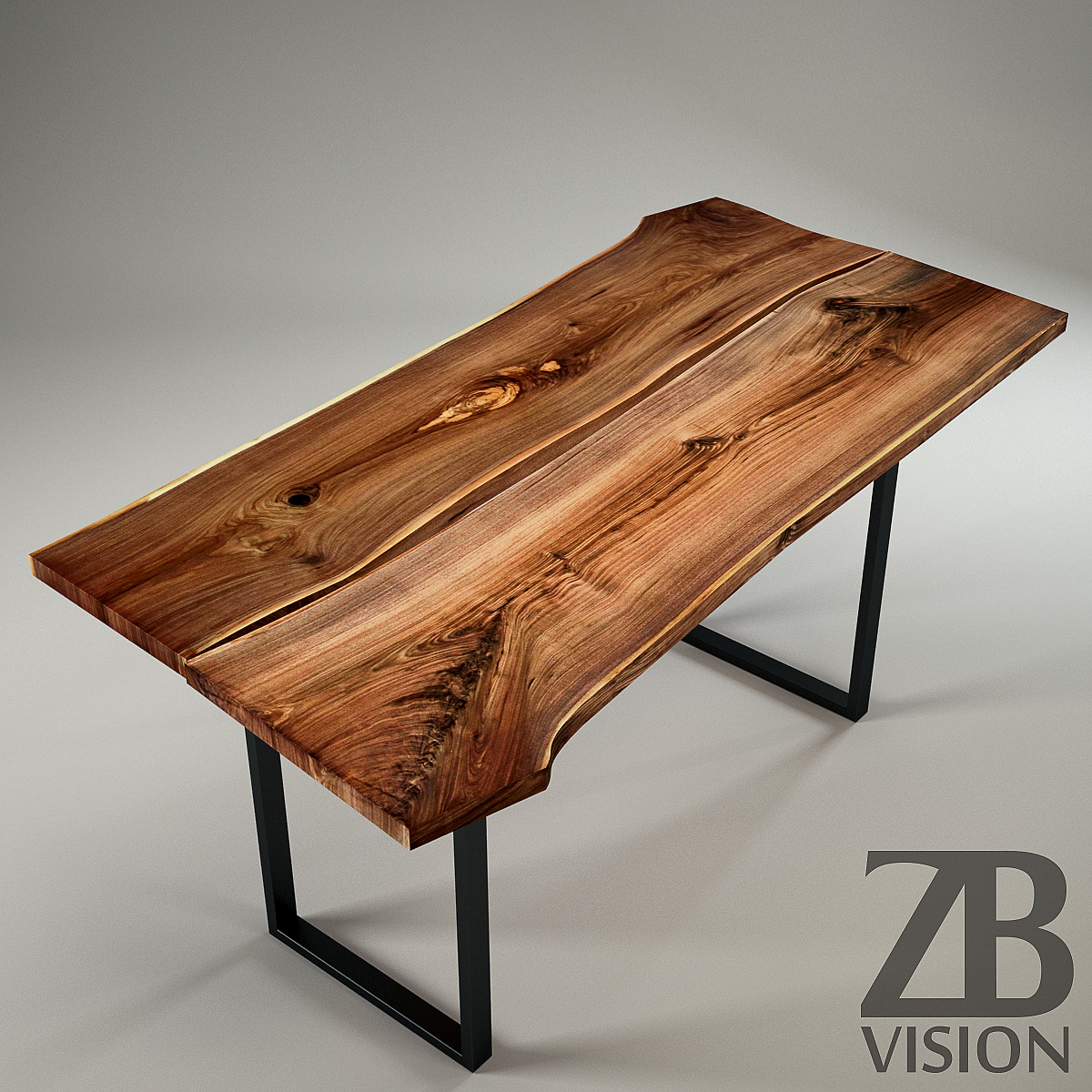 Wood slab table by ign design switzerland by luckyfox for Table design 3d