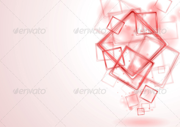 Bright Red Squares Design - Backgrounds Decorative