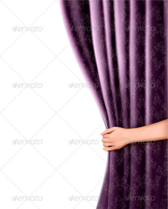 Background with Violet Velvet Curtain and Hand - Backgrounds Decorative