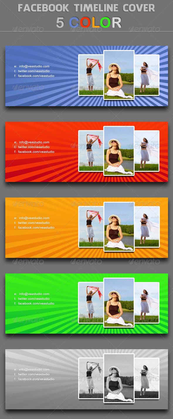 Facebook Timeline Cover 5 Colors - Social Media Web Elements