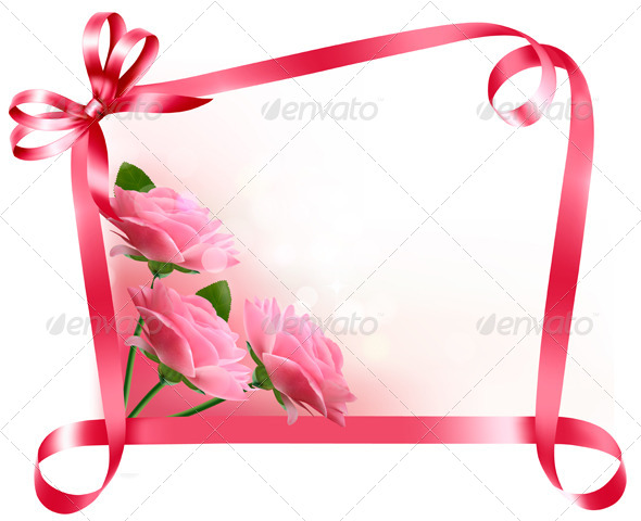 Holiday Background with Pink Flowers with Bow - Seasons/Holidays Conceptual