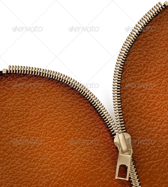 Brown Leather Texture Background with Zipper - Borders Decorative