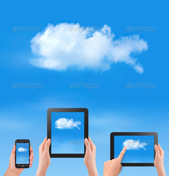 Cloud Computing Concept Hand with Blue Sky - Web Technology