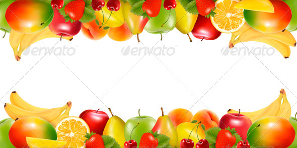 Two Borders Made of Fruit. Vector.  - Food Objects