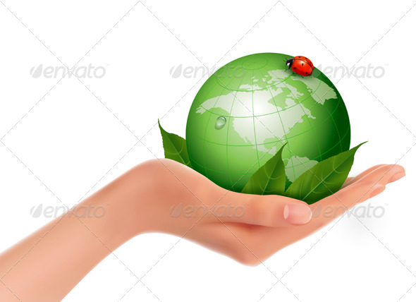 Green World and Leaf have Love Bug in Woman Hand - Nature Conceptual