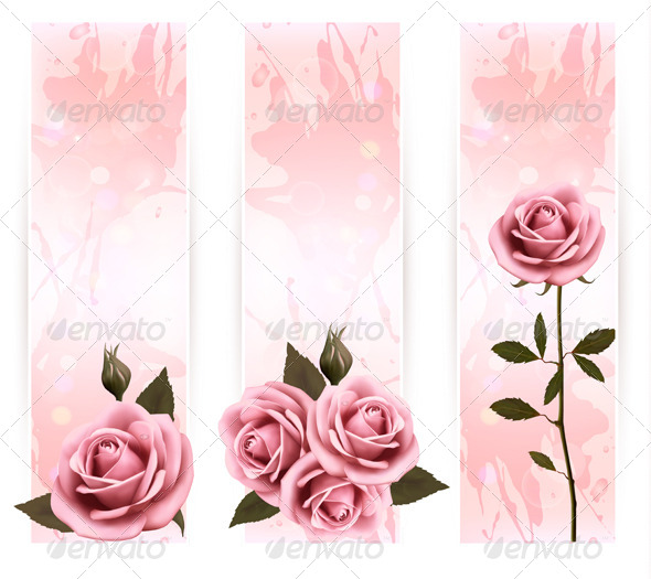 Set of Holiday Banners with Pink Roses - Flowers & Plants Nature