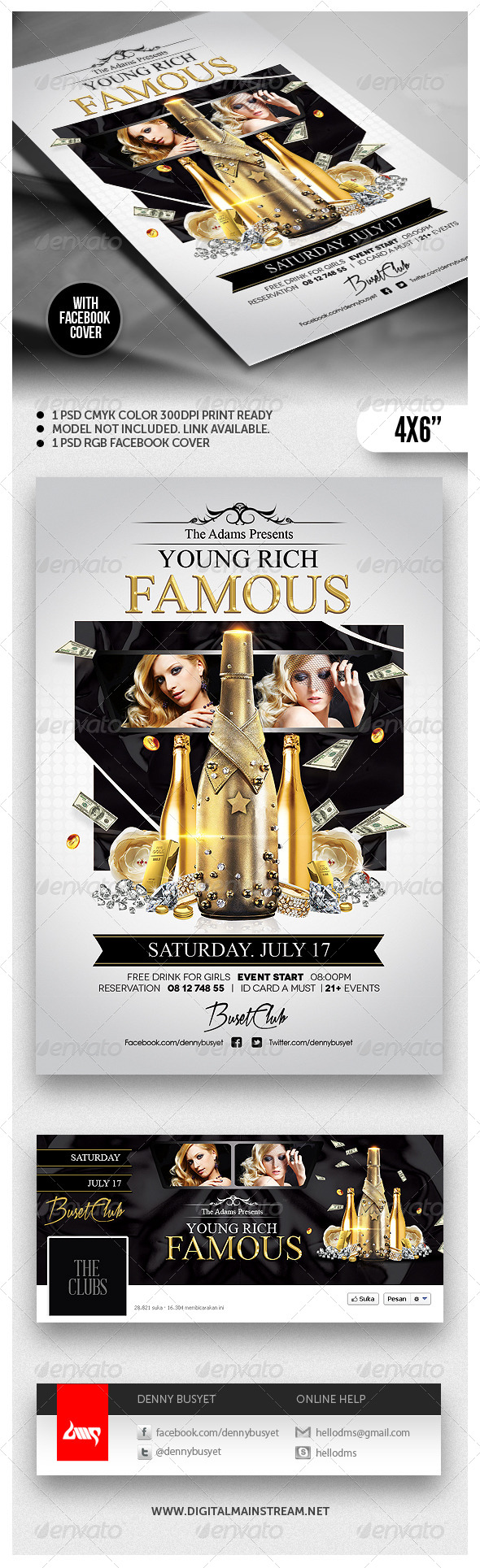 Young Rich And Famous Flyer Template - Clubs & Parties Events