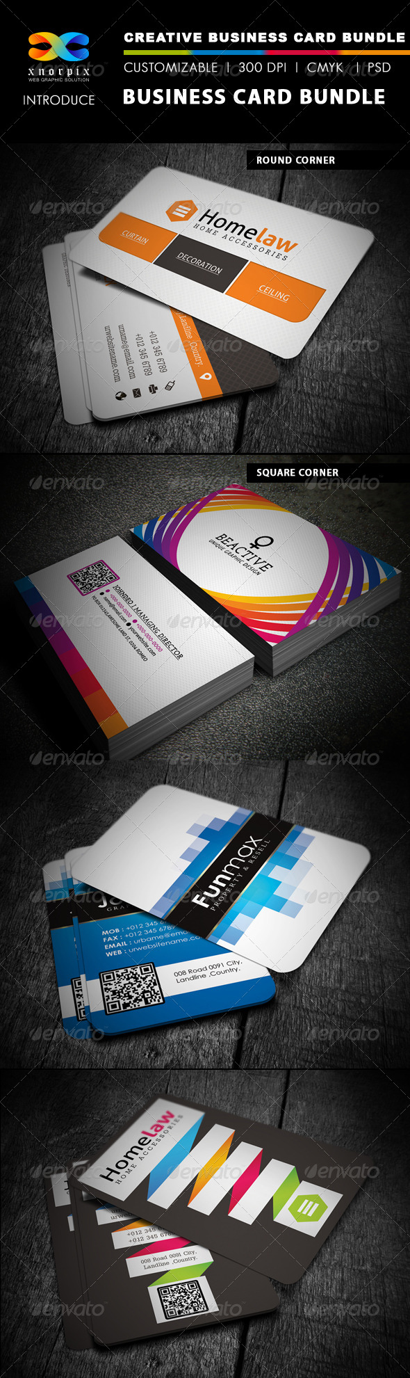 Business Card Bundle 4 in 1-Vol 2 - Corporate Business Cards