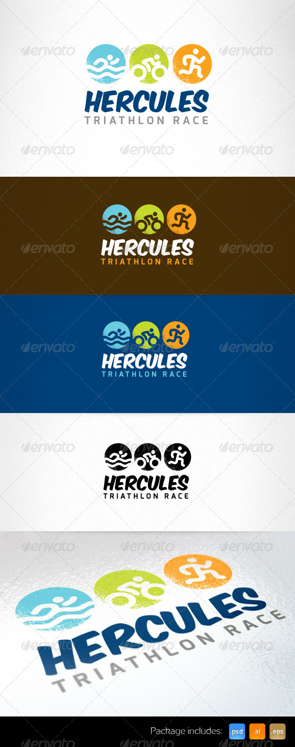 Swim Bike Run Triathlon Race Logo Template - Humans Logo Templates