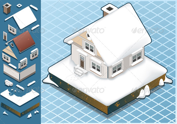 Isometric Snow Capped House - Buildings Objects