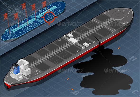 Isometric Ship Tanker Leaky Oil in Rear View - Objects Vectors