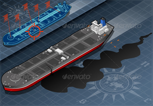 Isometric Ship Tanker Leaky Oil in Front View - Objects Vectors