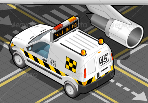Isometric Airport Follow-Me-Car in Rear View - Objects Vectors