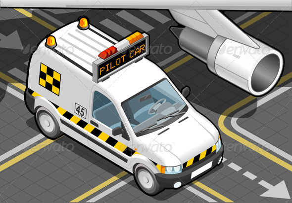 Isometric Airport Follow-me-Car in Front View - Objects Vectors