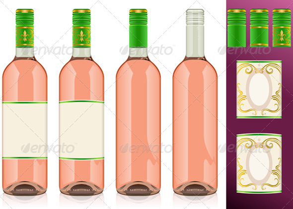 Four Rose Wine Bottles with Labels - Food Objects