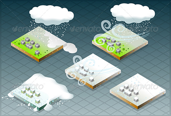 Isometric Natural Disaster Snow Capped - Conceptual Vectors