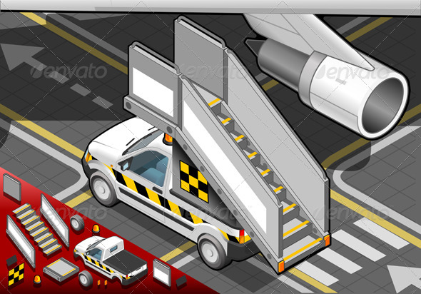 Isometric Airport Boarding Stair Car in Rear View - Objects Vectors