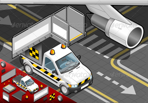 Isometric Airport Boarding Stair Car in Front View - Objects Vectors