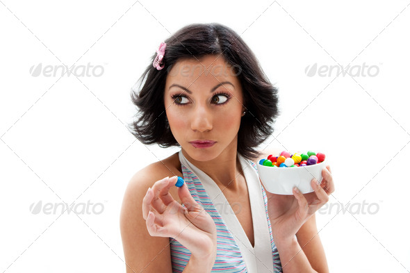 Happy candy girl - Stock Photo - Images