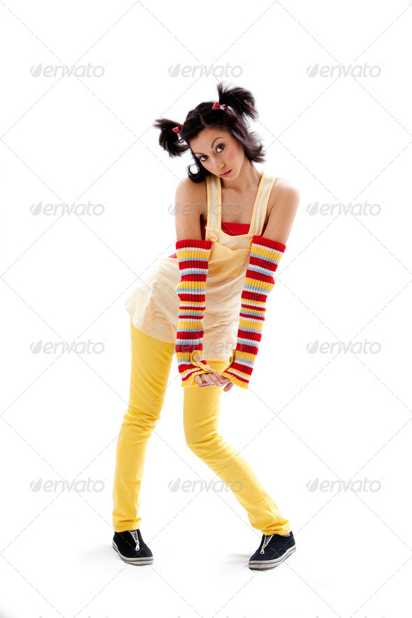Fun girl standing - Stock Photo - Images