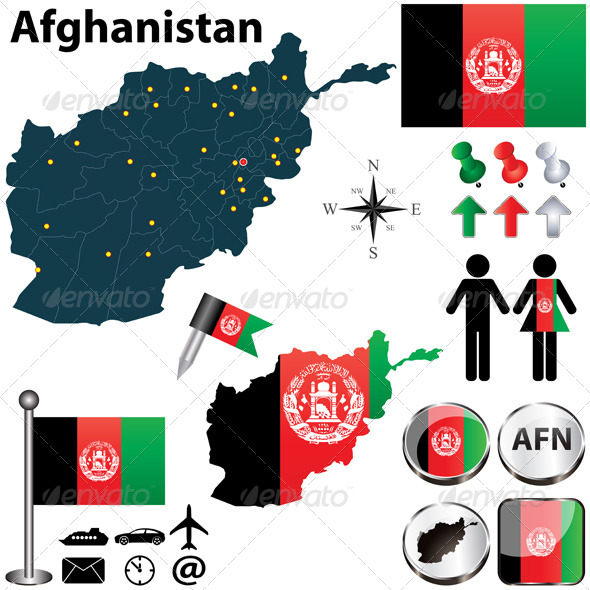 Map of Afghanistan - Travel Conceptual