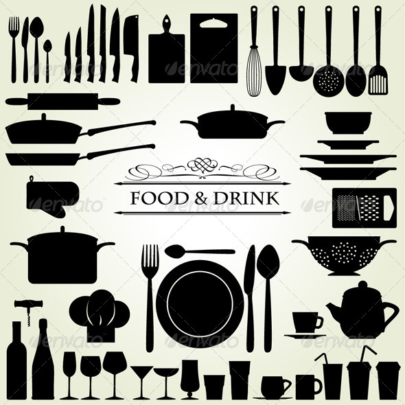 food drink restaurant kitchen icons by snja graphicriver