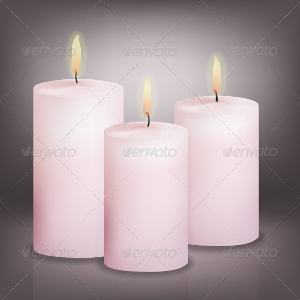 Vector Illustration of Three Pink Candles - Religion Conceptual