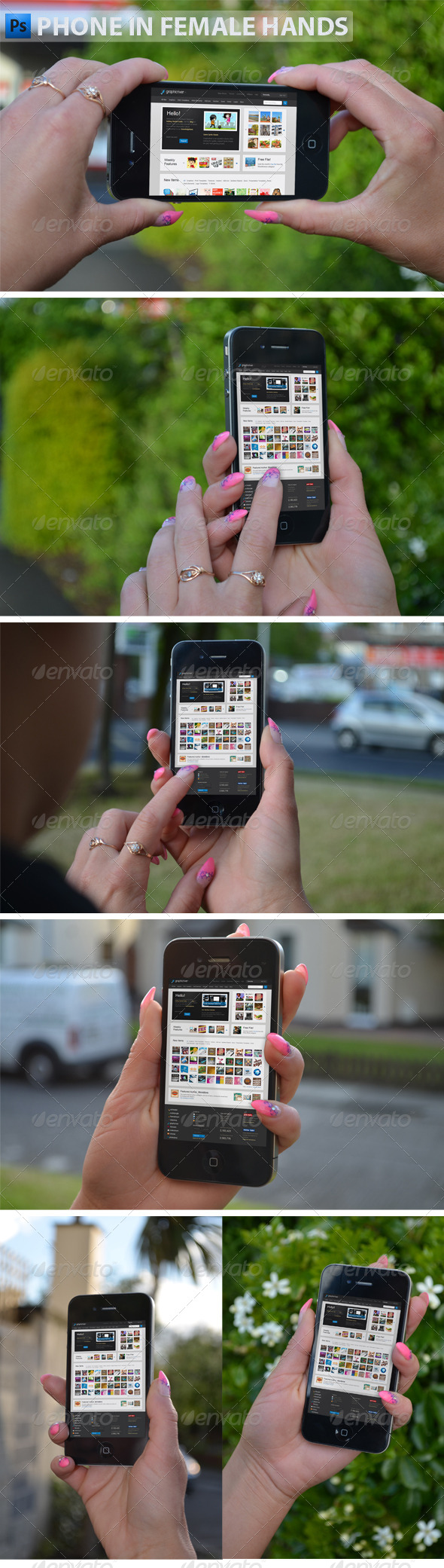 Phone in Female Hands - Product Mock-Ups Graphics