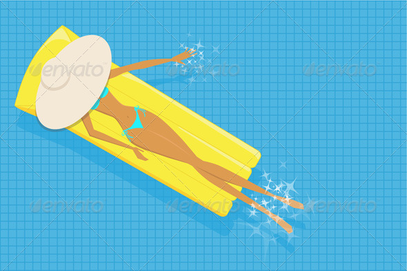 Woman Sunbathing in The Pool - Vector Illustration - People Characters