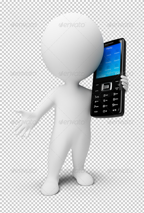 3d small people - mobile phone - Characters 3D Renders