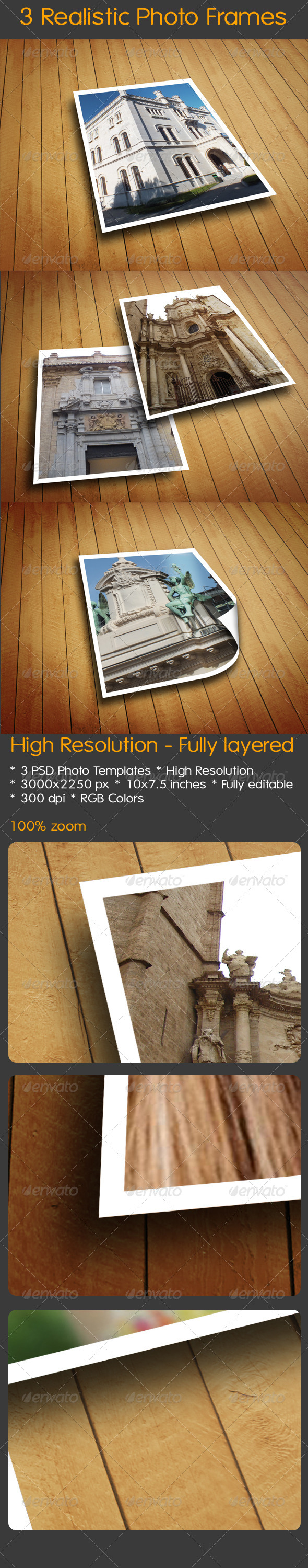 3 Realistic Photo Frames - Miscellaneous Photo Templates