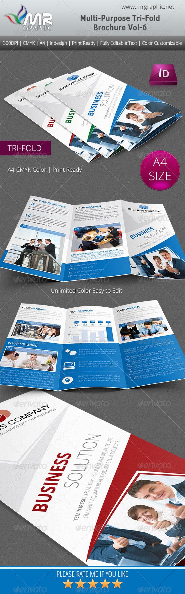 Multipurpose Business Tri-Fold Brochure Vol-6 - Corporate Brochures