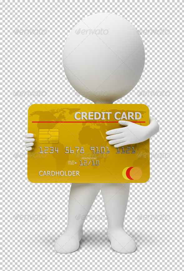 3d small people - credit card - Characters 3D Renders