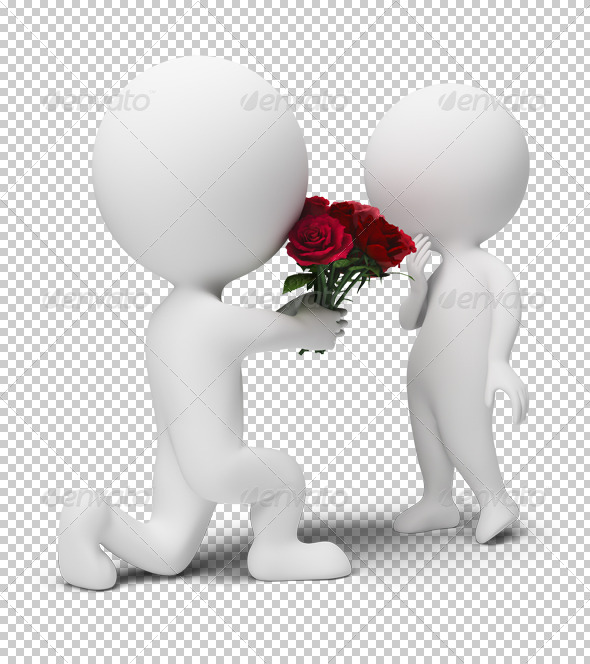 3d small people - bouquet for the darling - Characters 3D Renders