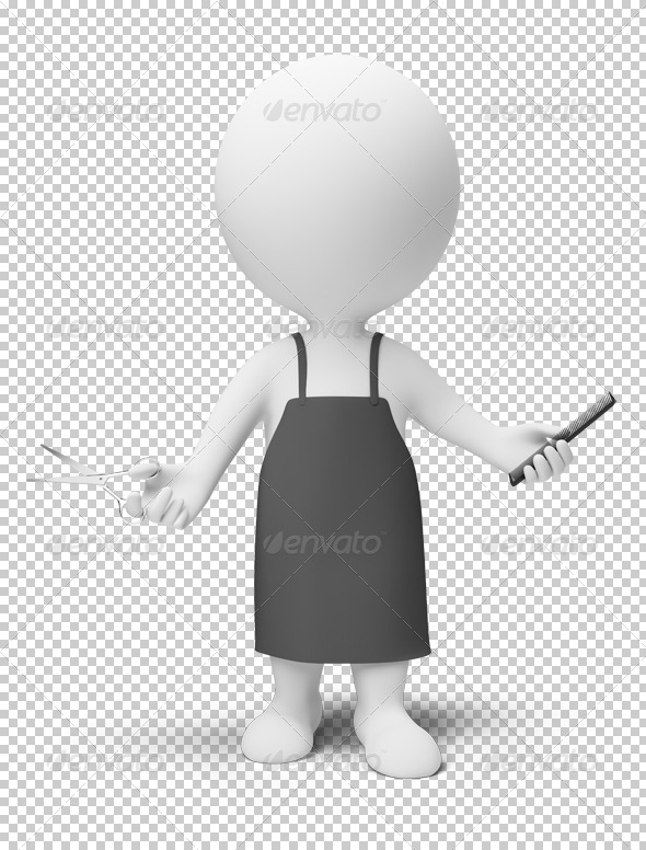 3d small people - hairdresser - Characters 3D Renders