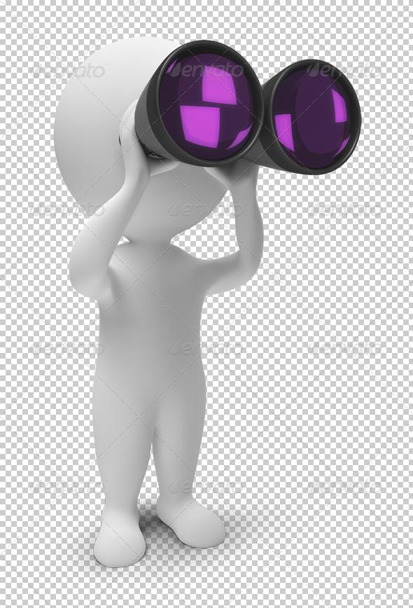 3d small people - binoculars - Characters 3D Renders