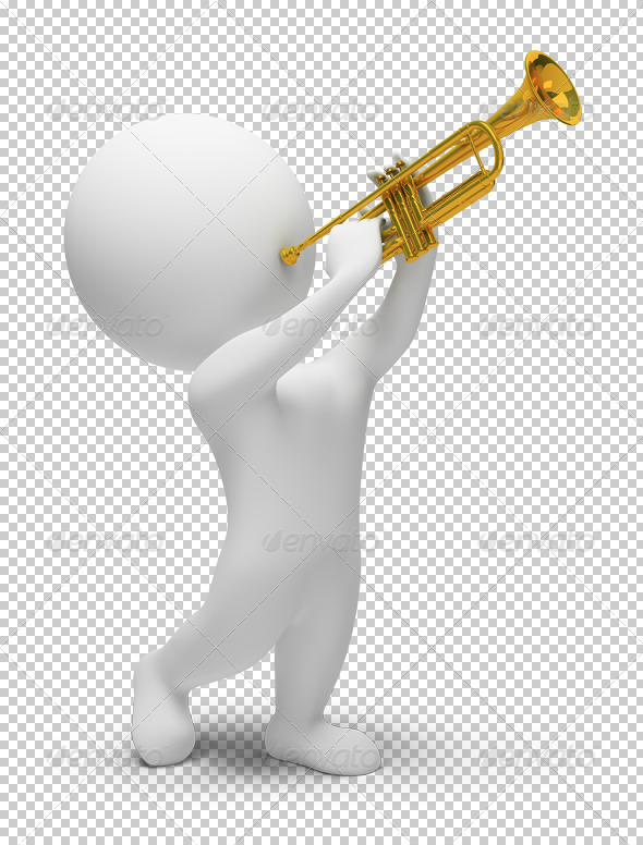 3d small people - trumpet - Characters 3D Renders