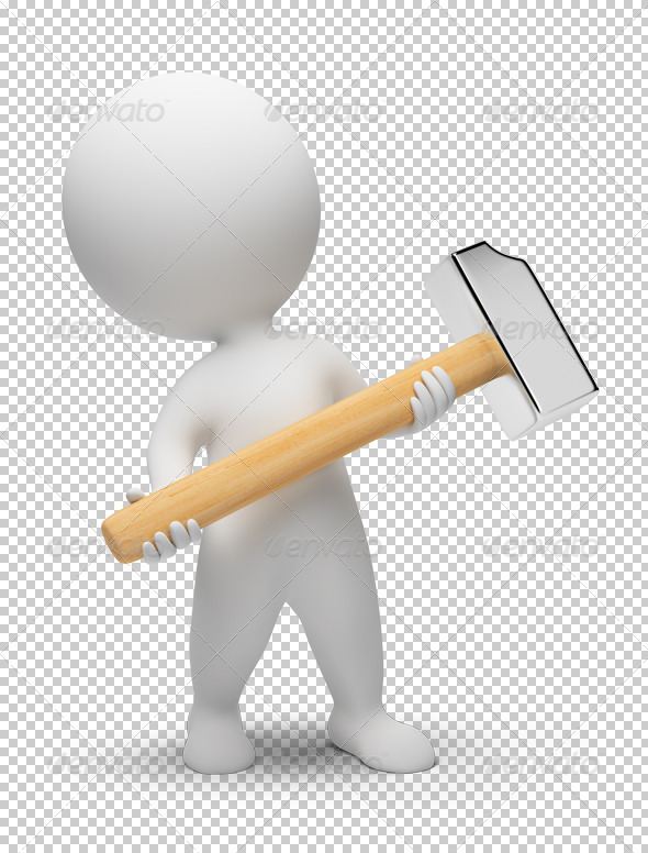 3d small people - hammer - Characters 3D Renders