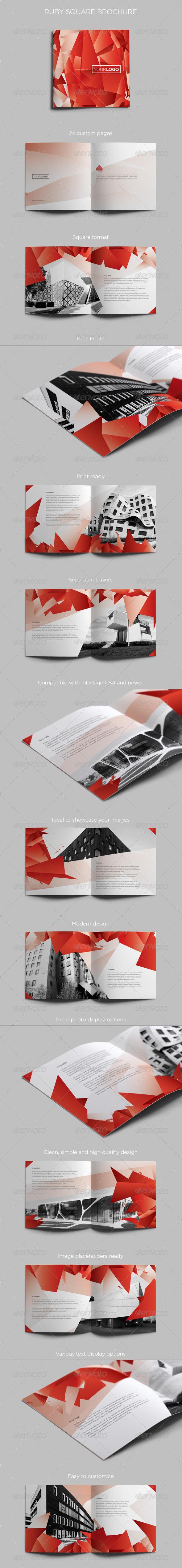 Ruby Square Brochure - Brochures Print Templates