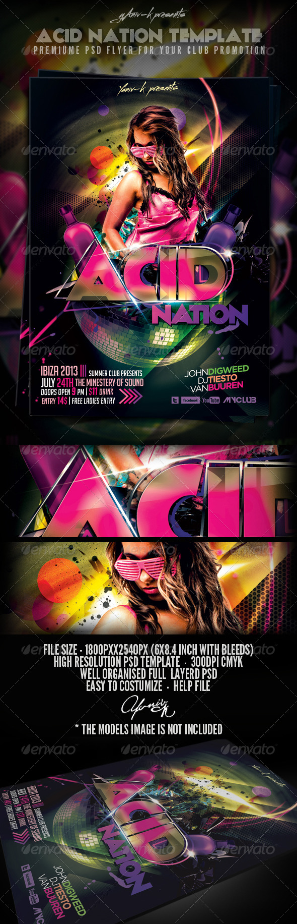 Acid Nation Flyer Template - Clubs & Parties Events