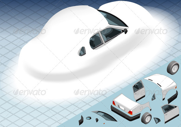 Isometric Snow Capped White Car in Rear View - Objects Vectors