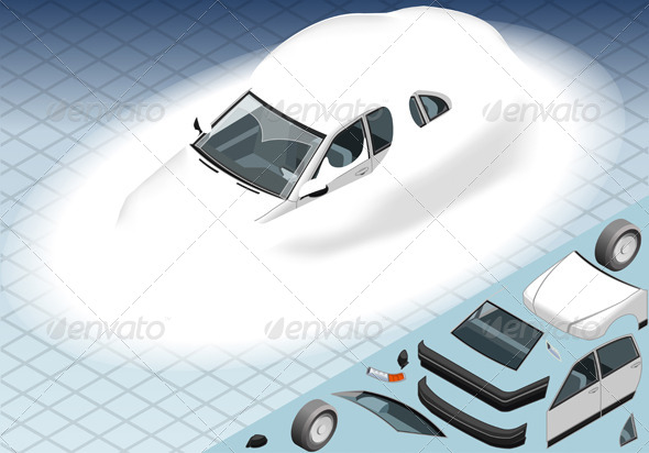 Isometric Snow Capped White Car in Front View - Objects Vectors