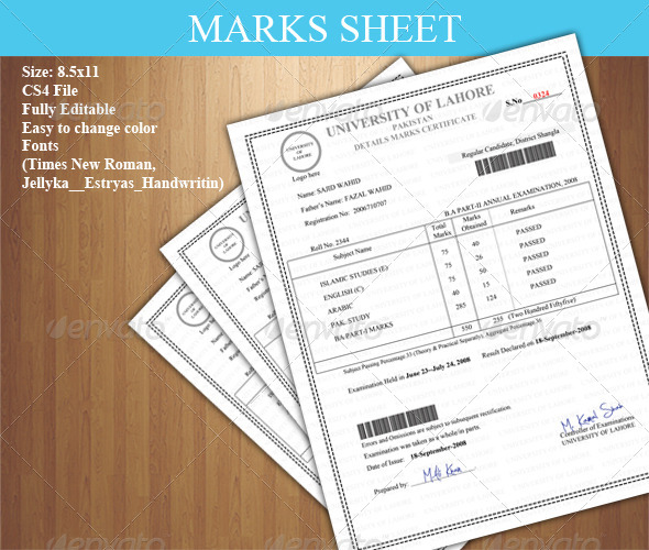 Detail Marks Certificate (Marks Sheet) - Certificates Stationery
