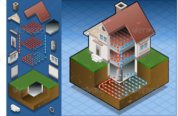 Isometric Geothermal Heat Pump Under Floor Heating - Buildings Objects
