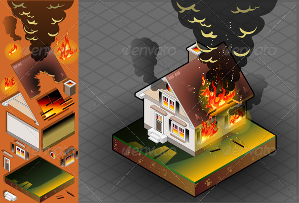 Isometric House on Fire - Buildings Objects
