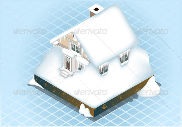 Isometric Very Hard Snow Capped House - Buildings Objects